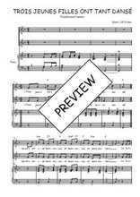 Téléchargez la partition de Trois jeunes filles ont tant dansé en PDF pour 2 voix égales et piano