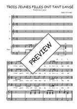 Téléchargez la partition de Trois jeunes filles ont tant dansé en PDF pour 4 voix SATB et piano
