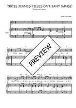 Téléchargez la partition de Trois jeunes filles ont tant dansé en PDF pour Chant et piano