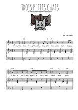 Téléchargez la partition de Trois p'tits chats en PDF pour Chant et piano
