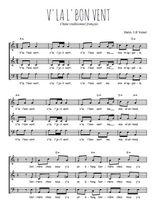 Téléchargez l'arrangement de la partition de Traditionnel-V-la-l-bon-vent en PDF à trois voix