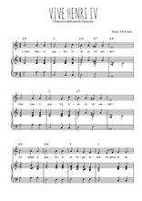 Téléchargez la partition de Vive Henri IV en PDF pour Chant et piano