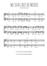 Téléchargez l'arrangement de la partition de Traditionnel-We-shall-not-be-moved en PDF à deux voix